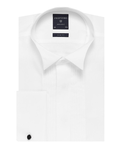 Profuomo Smoking Camicia - Classico - Bianca - Slim Fit - Twill - Double Cuff (1)
