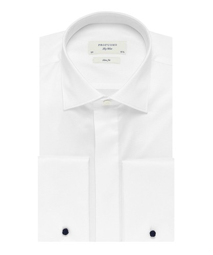 Profuomo Smoking Camicia - Bianca - Slim Fit - Twill - Double Cuff (1)